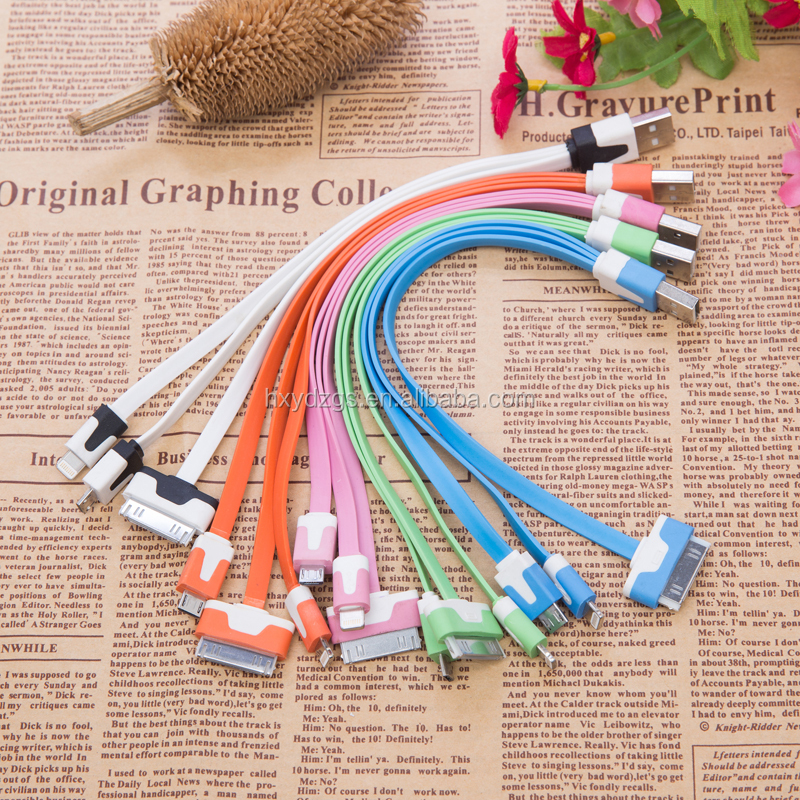 custom 20 22 23 cm length usb cable colorful 3 in 1 usb charging cable for mobile phone and power banks in flat shape