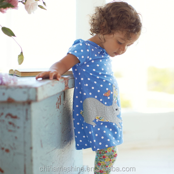 MS60818K polka dots short sleeve cotton dress garments for the baby