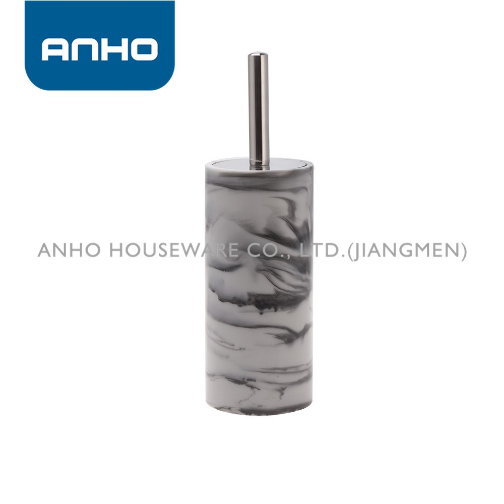 ANHO marble grain polyresin cylindrical toilet brush