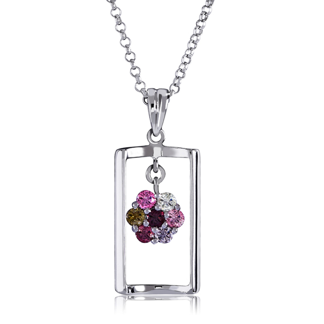 CYMO Flower design Genuine natural tourmaline pendant necklace in 925 sterling silver gemstone fine jewelry for Wholesale