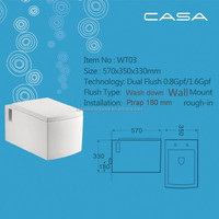 Concealed cistern installed toilet square wall hung water closet