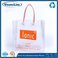 Fashion high quality custom plastic cosmetic gift set packaging bag with handle