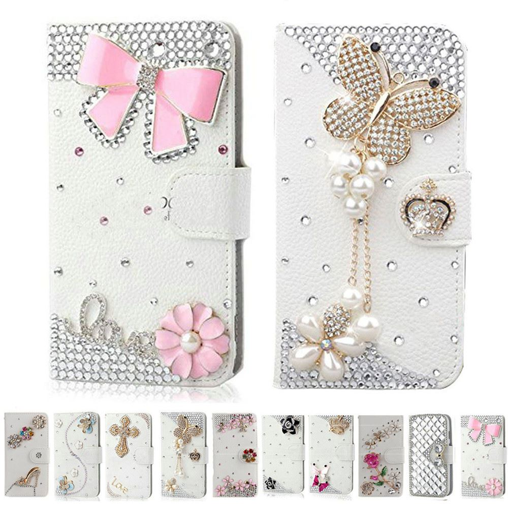 Handmade Bling Diamond Rhinestone PU Leather Filp Cover Wallet Case for Samsng S8 S5 S6 S7 S7edge for iphone 5s 6 6s 7 plus