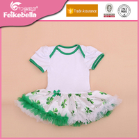 New Style 0-2 yrs Girls Short Sleeve Cotton Romper Lovely Clover Printed Dress Brand Newborn Girls St Patrick's Day Clothes