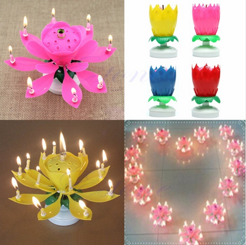 4colors Romantic Musical Lotus <strong>Flower</strong> Rotating Happy Birthday Party Gift Candle Lights