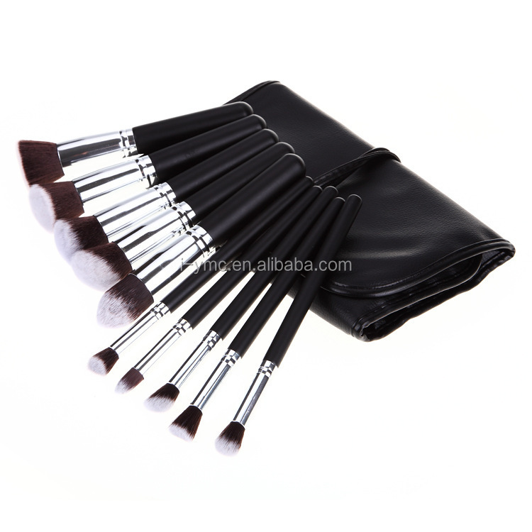 10pcs Kabuki make-up brushes ,YMC, 10pcs premium synthetic makeup brush set with high quality PU bag