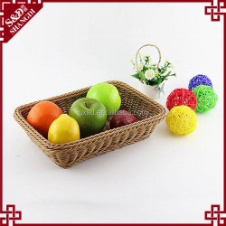 Hot offer food grade rectangle wicker plastic rattan fruit basket