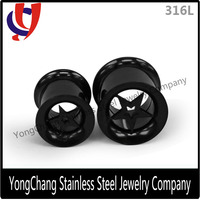 China imitation jewellery double flare stainless steel black star plug