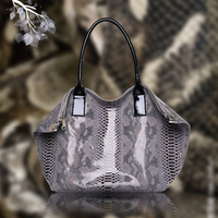 QSL0628 Classic Tote Bag Snakeskin Pattern Cow Leather Genuine Leather Handbag for Ladies