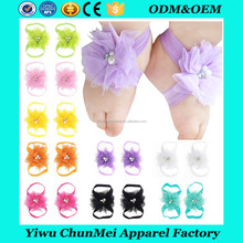 Infant Baby Girl Kids Lace Flowers Foot Band Ties Barefoot Baby Sandals Shoes Wholesale