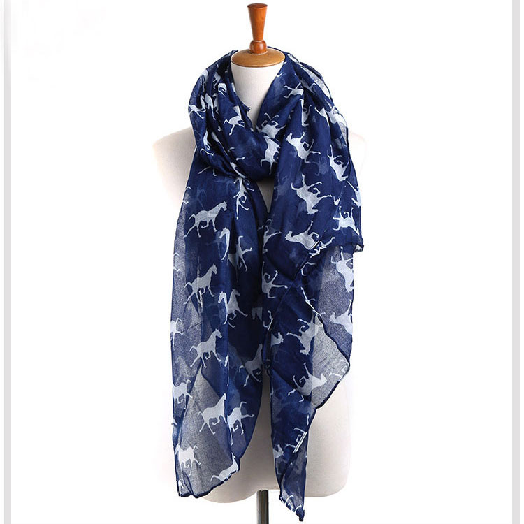 fashion voile new style 2016 women print horse winter wide shawl scarf