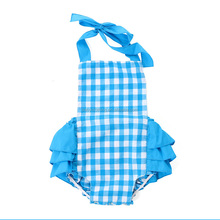 wholesale children's boutique clothing blue gingham ruffle romper cheap baby cotton ruffle romper