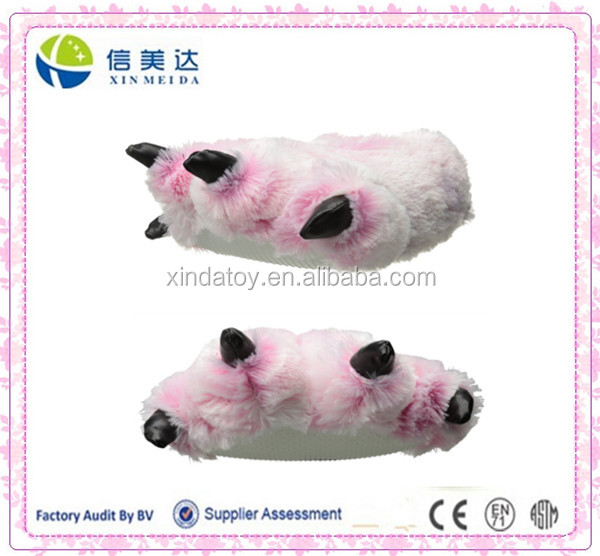 "Soft 15"" Pink Furry Tiger Plush Slippers"