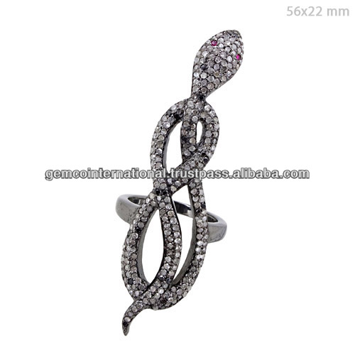 925 Mayorista joyeria de plata esterlina Animal pave de diamantes anillo de serpiente larga