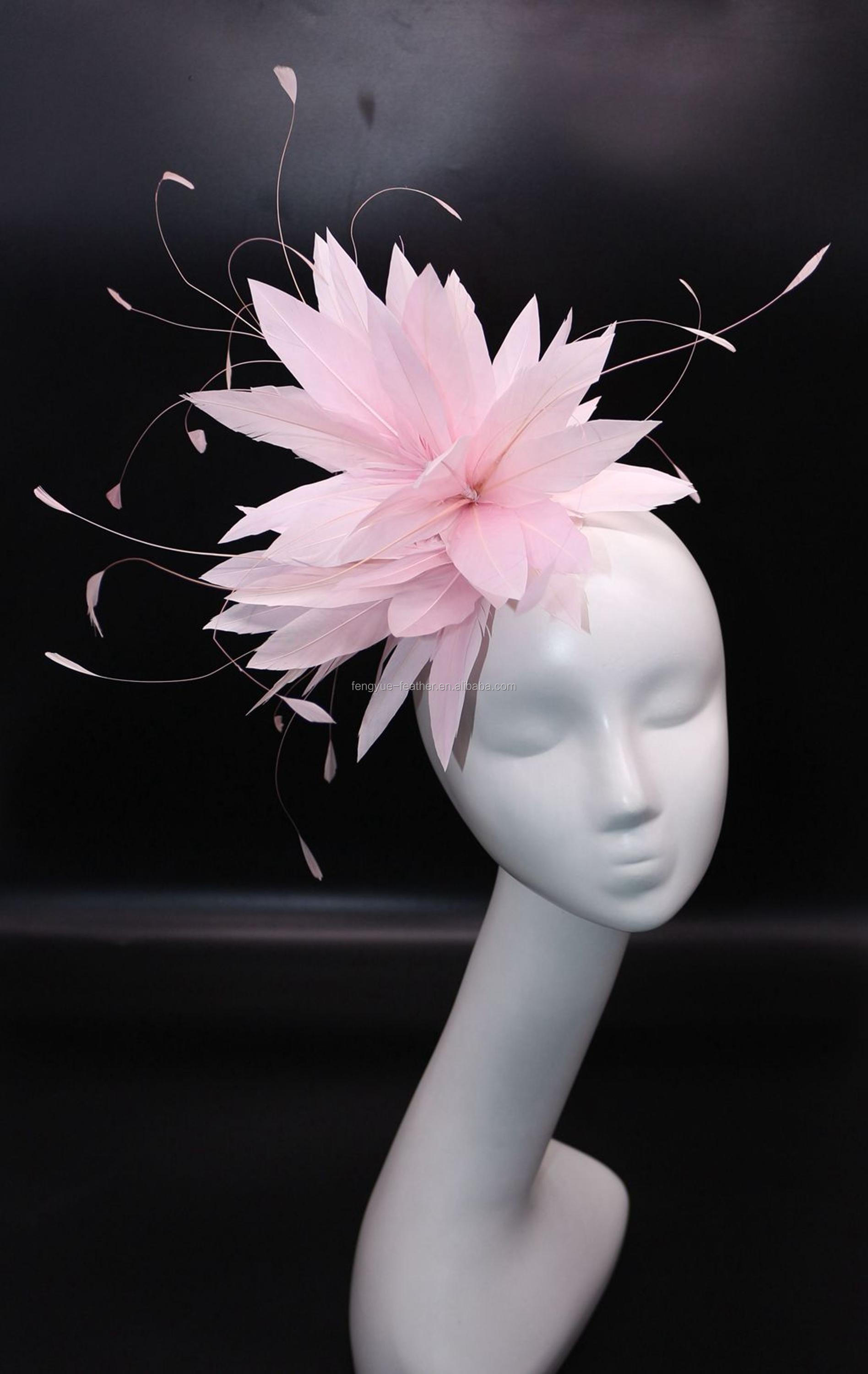 Millinery feather wire mount flower