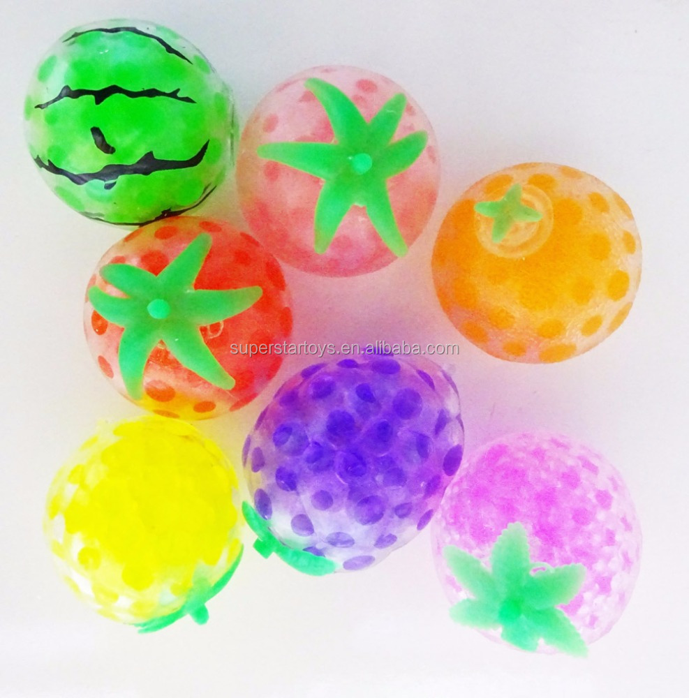3170901-3 Bead gel stress squishy ball, fruit shaped rubber beads ball toys
