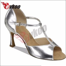 Silver PU material T- strap ballroom dance shoes women silver salsa shoes
