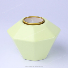 Yellow Geometric Shape Ceramic Table Tealight Candle Holders Centerpiece