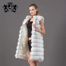 Women's Luxury Soild Color real white fox vest Natural Fur Long Gilet