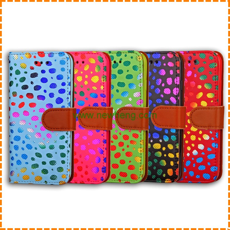 Colorful Dot Design PU Leather Wallet Case Cover For iPhone 7