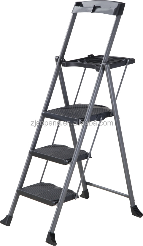 New Hd 3 Step Ladder Platform Folding Stool 3 Capacity Space Saving W/tray AP-1213T