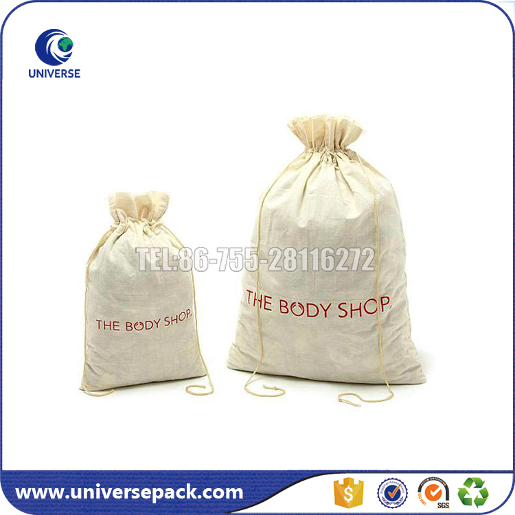 Eco-friendly customized natural cotton wash bags with drawstring for laundry