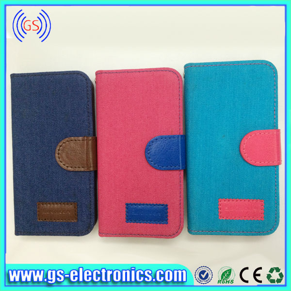 New Arrival Hot Selling book type leather for iphone 5 jean case