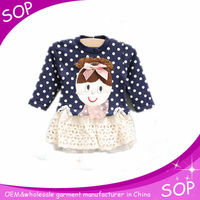 Baby girl dress winter garments polka dot printed cartoon dresses