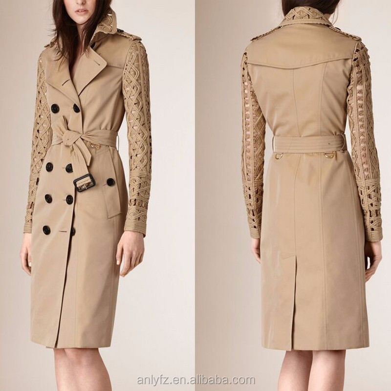 Latest fashion winter coats for women European art rope made decorative long version coat with buffalo horn buckle