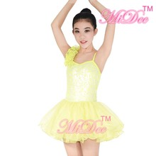 Leotard Tinsel One- Flower Shoulder Brace Skirt Baller Dance Dress For Kids Party Dress And Wedding Flower Girls Dresses