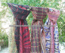 indian wholesale kantha handmade reversible quilt/blanket/throw/silk stoles/scarves supplier