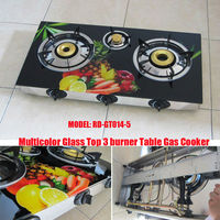 Multicolor Glass Top 3 burner table gas stove (RD-GT014-5)glass top cooker