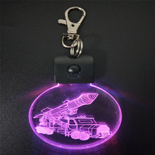 Hot Selling Personalized LED Keychain Mini RGB 7 Colors Change Guided Missile Key Holder With LED Light