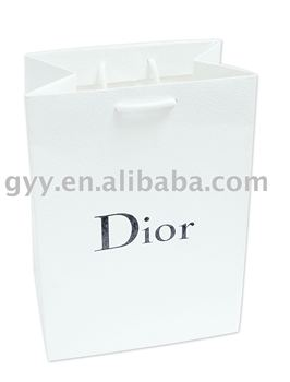 Luxury white shopping paper bag with black logo 2012