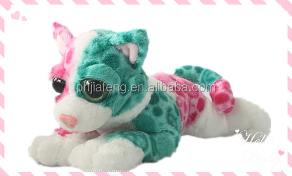 big eye plush cat toy/colorful plush toy/soft stuffed toy