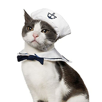 Cat Dog Sailor Costume Cat Sailor Outfit Navy Hat Cats Dogs Costume for Halloween, Christmas,Party