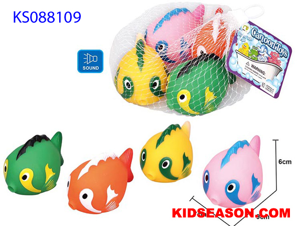 KIDSEASON BABY BATHING TOYS LOVELY VINYL FISHES WITH SOUND