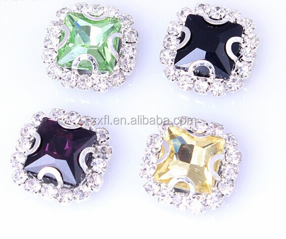 Rectangle Glass rhinestones sew on claw for weeding / DIY garment decoration