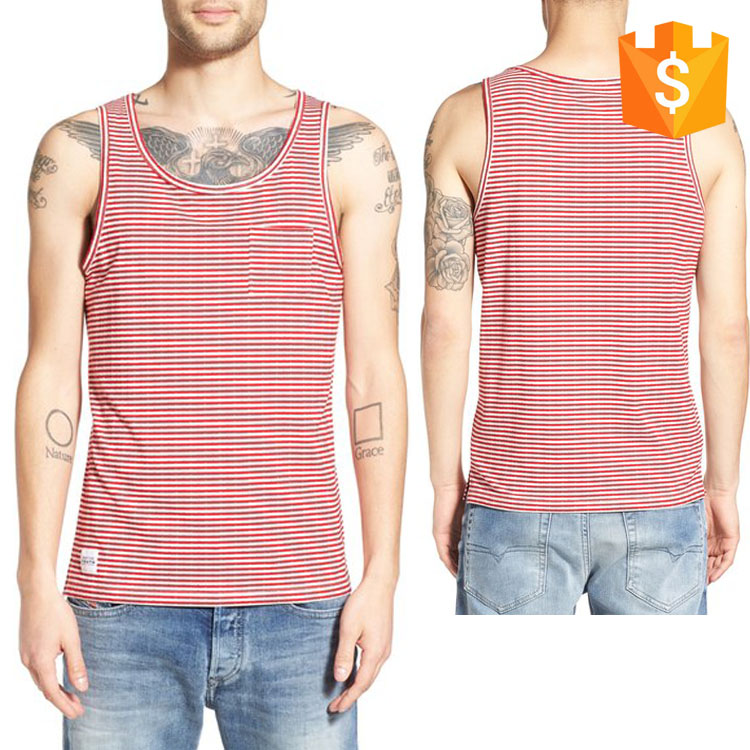 2016 fashion style men's wear pink stripe Pocket Tank men's fashion top