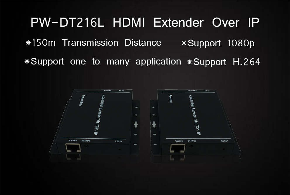 DT216L HDMI extender 100M support 1 to 253 by switch hdmi 1.4 hdcp 1.2 transmitter and receiver