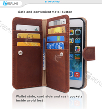 Multi-functional business card genuine leather wallet phone case for iphone 6