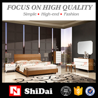 Latest double bed designs / modern MDF wooden bed / china bedroom furniture B-815