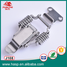 Spring clip latch hardware for hand toolbox