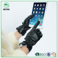 Wholesale custom buyer ladies leather gloves winter dressing touch screen gloves in china