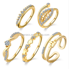 5 pcs/Set Gold Color Heart Crown Crystal Midi Rings for Women