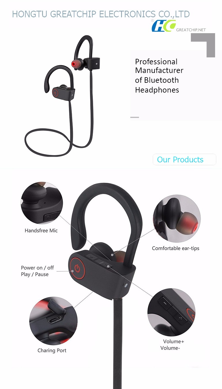 U8 Bluetooth V4.1 Earbuds Wireless Sports Headphones with Microphone for Running Earphone,In-ear Sweatproof Headset - Black