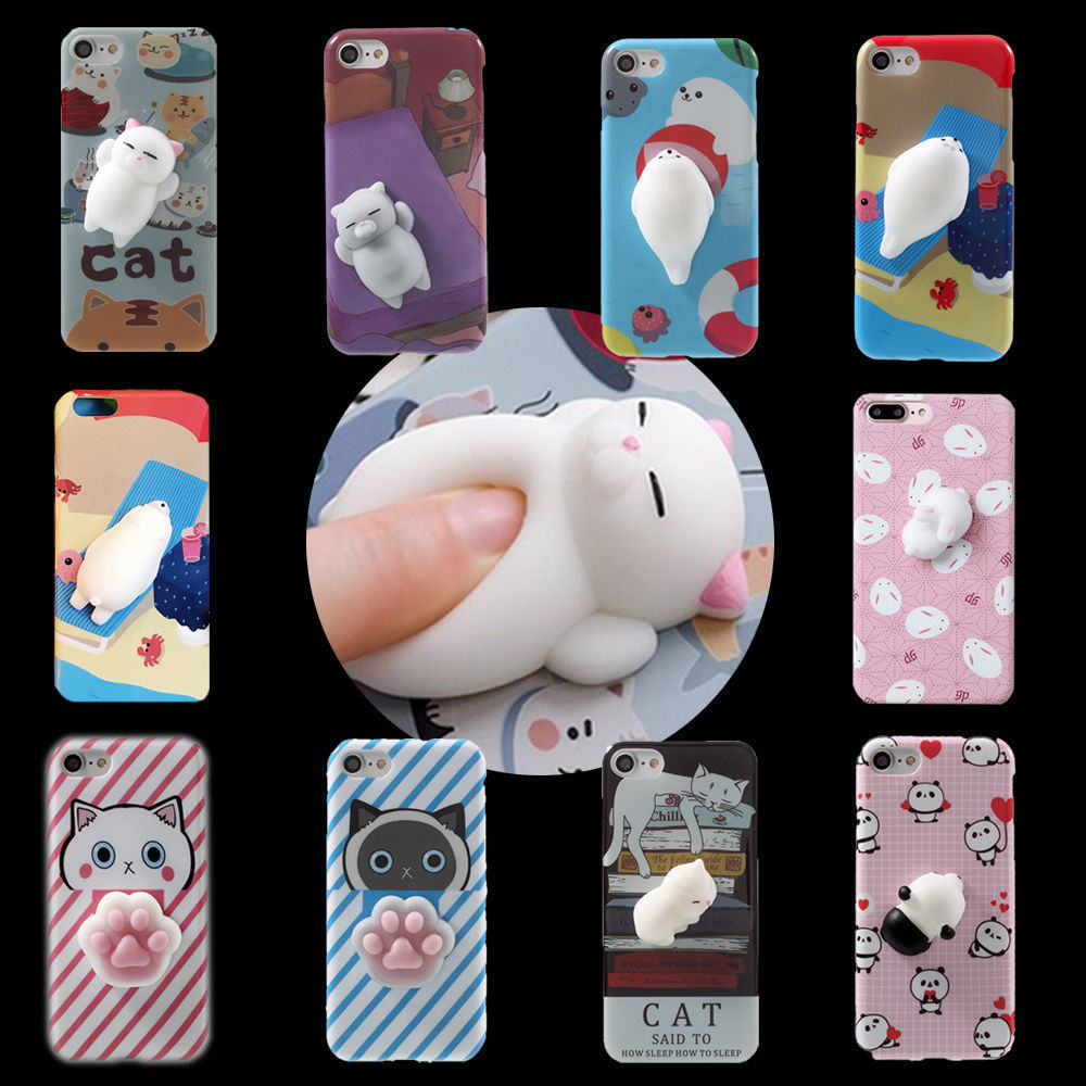 Cute Soft silicone 3D cartoon Squishy Cat Mobile Phone squishy pinch case for iPhone 7 7 Plus