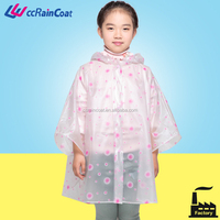 Kids hooded pvc rain cape poncho with printing