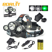 Most Popular Green Light 3pcs CREE LED Headlamp for Hunting