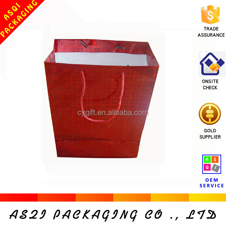 custom design hot sale factory price medium size shopping red holographic bag for jewelry